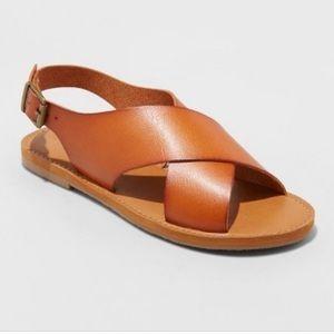 NWOT Cognac Strap Sandals